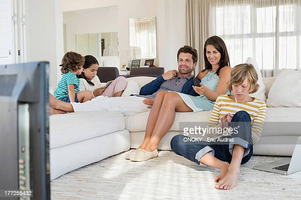 Family using electronics gadget