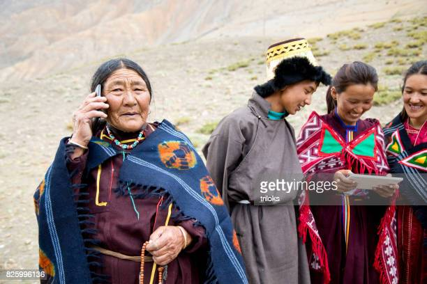 Family using smart phone and digital tablet