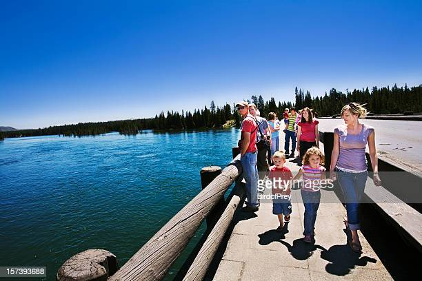 family vacation at fishing bridge yellowstone national park. - yellowstone river stock photos and pictures