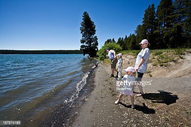 family vacation at yellowstone lake. - yellowstone river stock photos and pictures