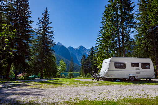 Family vacation travel, holiday trip in motorhome 1128694850