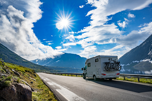 Family vacation travel RV, holiday trip in motorhome 1063280128