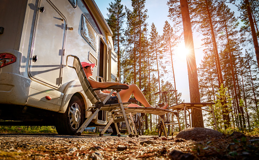 Family vacation travel RV, holiday trip in motorhome 1175048712
