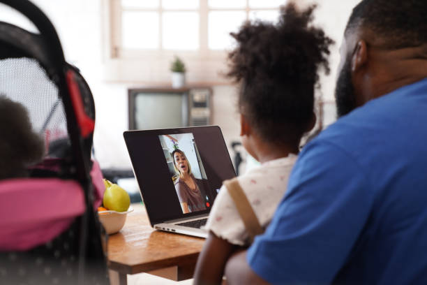 Family video chat communication stays at home