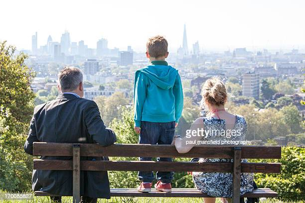 family viewing london skyline - hampstead heath stock pictures, royalty-free photos & images
