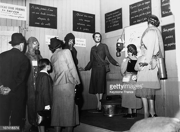 Family Visiting Civil Defence Exhibition In Paris On June 1939