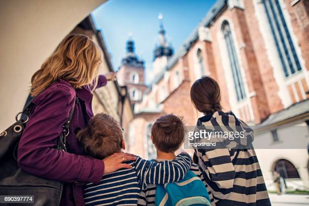 Family visiting Cracow, Poland