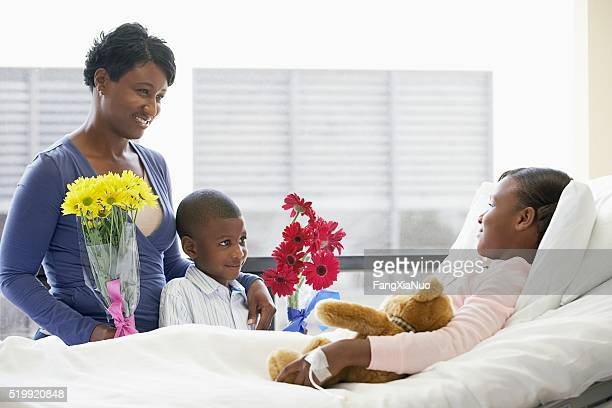 Family visiting daughter in the hospital