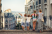 Family visiting Paris, Montmartre