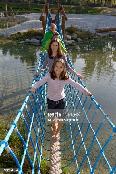 family visiting the erlebnispark wasser fisch natur adventure park, at murner see lake, near wackersdorf, upper palatinate lake district, upper palatinate, bavaria, germany - natur stock pictures, royalty-free photos & images