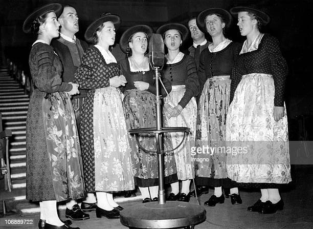 Family Von Trapp singing in a radioshow in London Photograph December 9th 1937