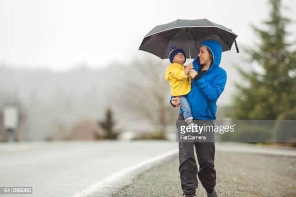 Family Walk in the Rain