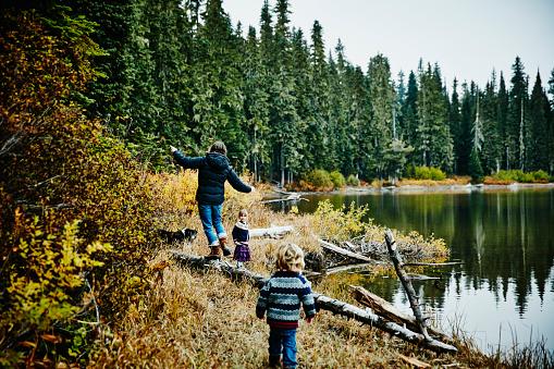 Family walking along shoreline of lake - gettyimageskorea