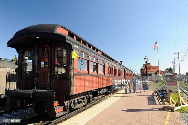 family walking at strasburg train station - lancaster pennsylvania stock pictures, royalty-free photos & images