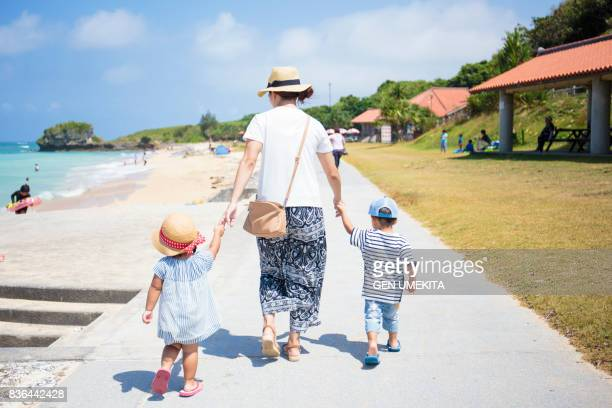 family walking by beach