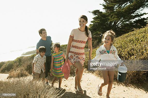 Family walking from beach