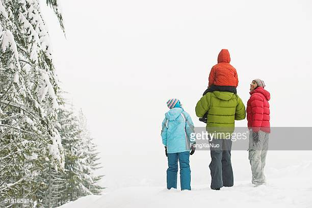 Family walking in the snow