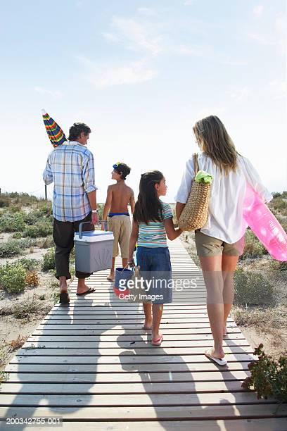 Family walking on beach path carrying picnic box and toys, rear view
