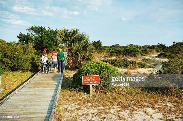 Family Walking on Boardwalk Fernandina Beach Florida