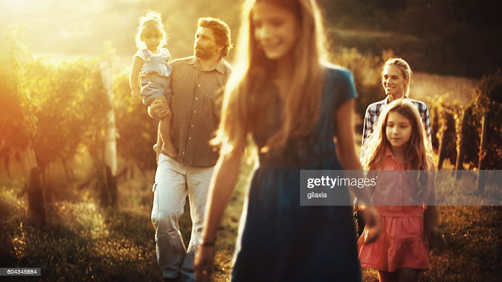 Family walking through a vineyard. : Stock Photo