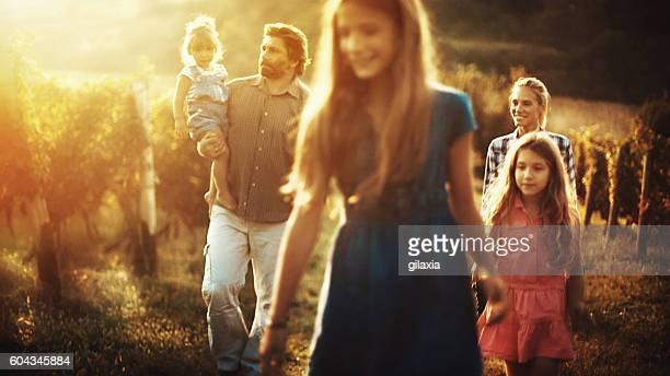 Family walking through a vineyard.