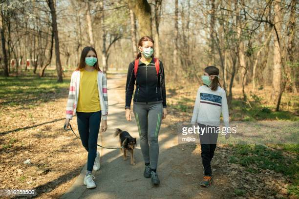family walking with their dog in park and wearing mask - natural parkland stock pictures, royalty-free photos & images