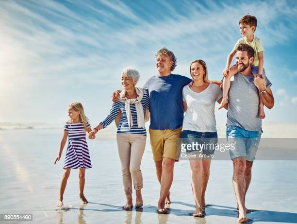 Family walks on the beach - the epitome of summer
