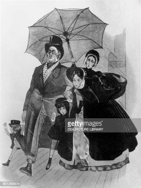 A family walks out of breath in the rain sheltered by an umbrella illustration by Ferdinando Corbella for Little GoodForNothing by Alphonse Daudet...