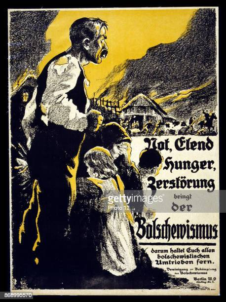 A family watching in distress as their farm is burned and animals confiscated Text Bolshevism brings distress adversity hunger and destruction