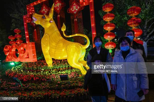 Family wearing face masks pose for pictures next to the figure of an ox in Wuhan in China's central Hubei province on February 10 ahead of the...