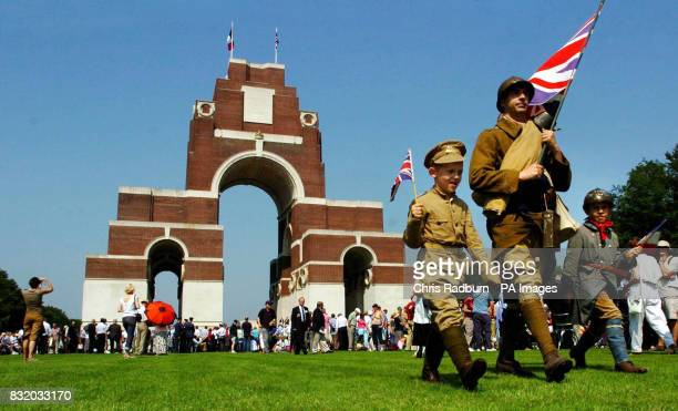A family wearing period dress from WW1 walk around the grounds of the Thiepval Monument France ahead of the 90th Commemorations of the Battle of the...