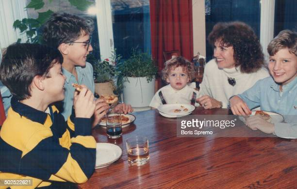 Family weekend The sons of former prime minister Pierre Trudeau enjoy homemade pizza at the home of their mother Margaret Kemper and their half...
