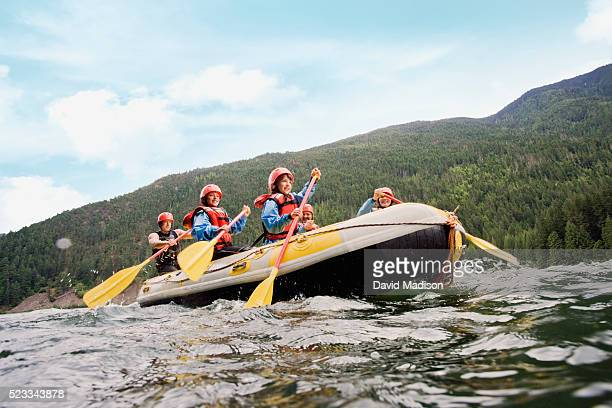 family whitewater rafting - rafting stock pictures, royalty-free photos & images