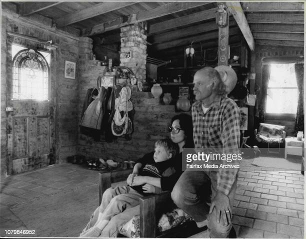 Family who live in Mudbrick House at BlackheathMandy Young with Lawrence on her lap at Doug Spiller beside warm by the wood fire heater November 21...