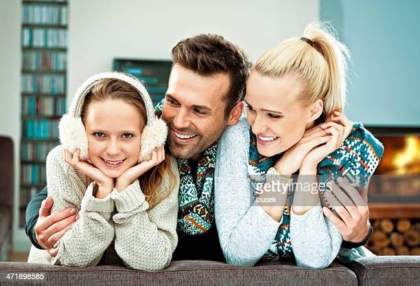 portrait d'hiver en famille