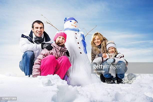 Familie winter-Porträt.