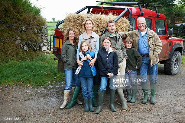 family with 4x4 landrover - british granny stock photos and pictures