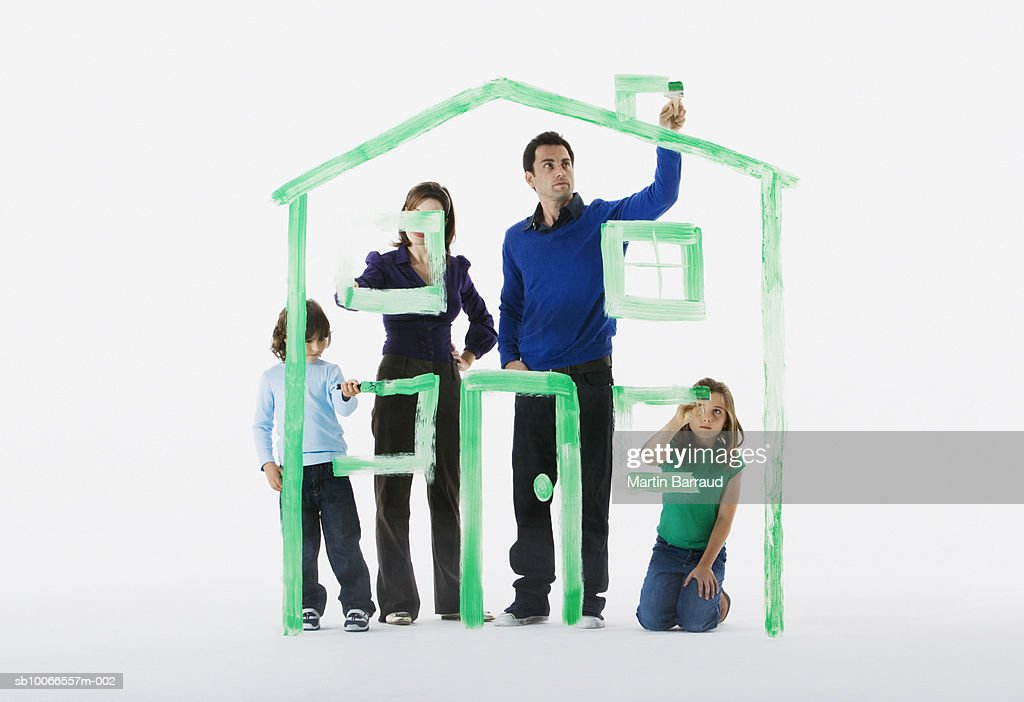 Family With Boy And Girl 6 9 Painting House Outline On White