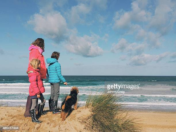 family with dog looking out to sea - girl blows dog stock photos and pictures