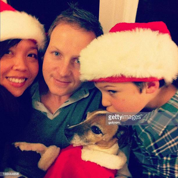 Family with dog on Christmas Night