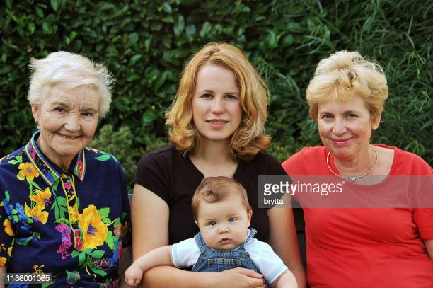 family with four generations of women - great grandmother stock pictures, royalty-free photos & images