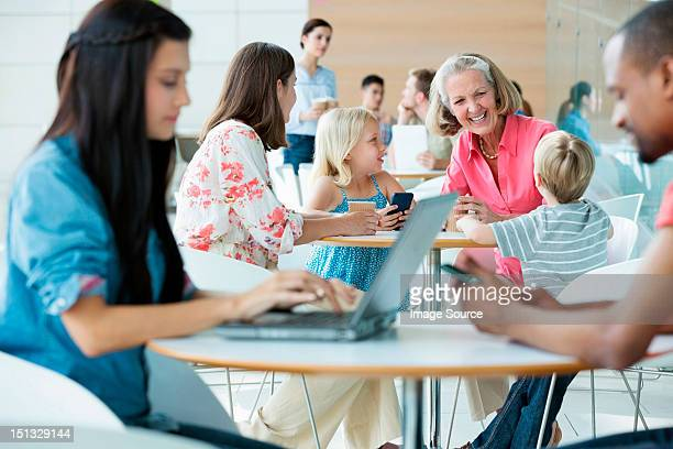 Family with grandmother in canteen area