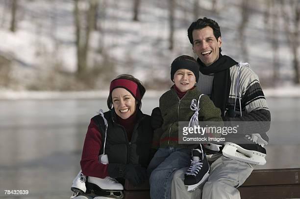 Family with ice skates