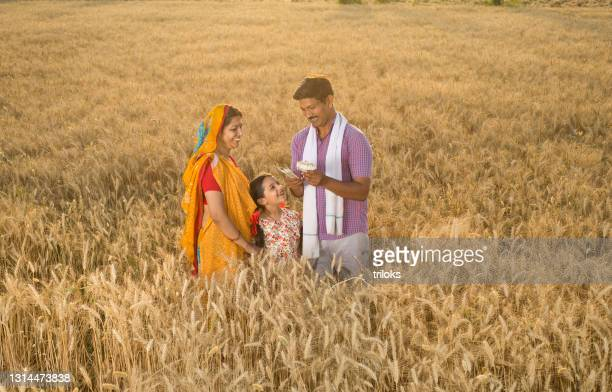 family with man holding indian rupee notes on agricultural field - wife stock pictures, royalty-free photos & images