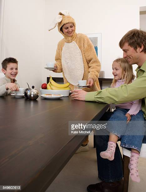 Family with Mother in Bunny Costume