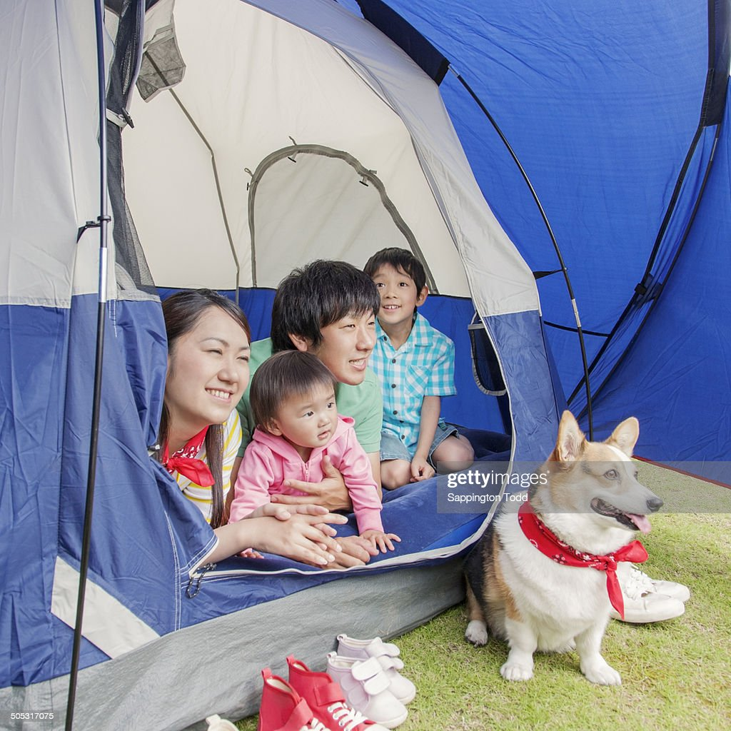Family With Pet Dog In Tent  Stock Photo  sc 1 st  Getty Images & Family With Pet Dog In Tent Stock Photo | Getty Images