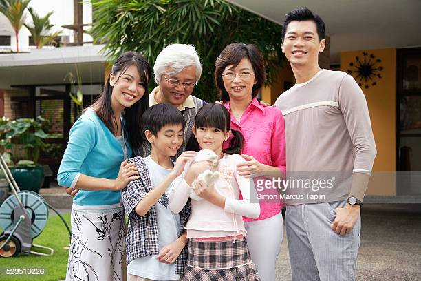Family with Pet Rabbit