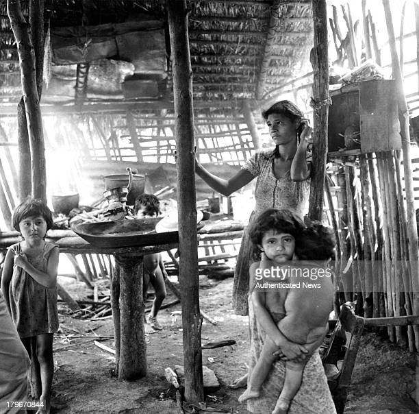 Family with poor housing conditions that favor the spread of Chagas disease in Venezuela.