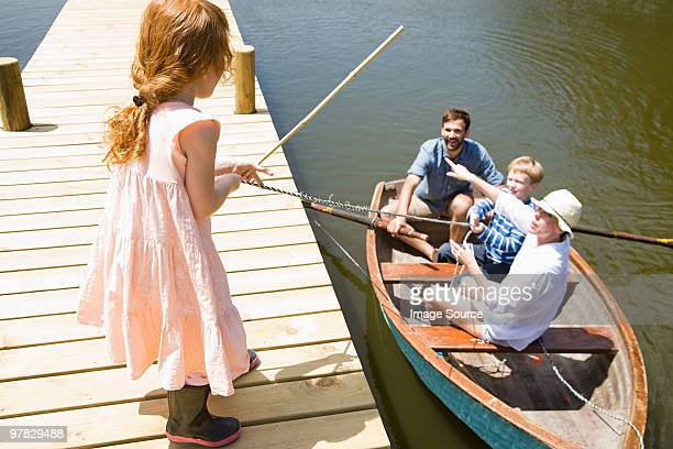 Family with rowing boat