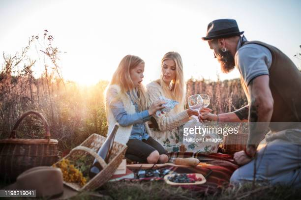family with small daughter having picnic outdoors at sunset in autumn nature. - pique nique photos et images de collection